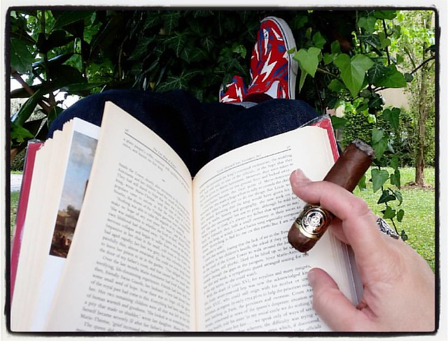 #rest #cigar #relax #vans #gardengnome #reading #macanudo