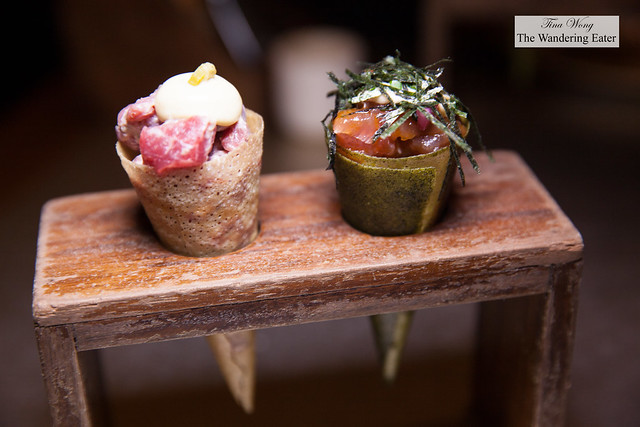Tuna tartar temaki cone with spicy soy and Beef tartar cone with mustard emulsion