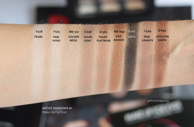 Make Up For Ever Artist Shadows Palette #1 swatches