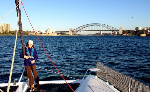 An adrenalised but tired me - sailing into Sydney Harbour.
