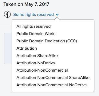 Flickr licensing options | 1  Public Domain 2  Public Domain