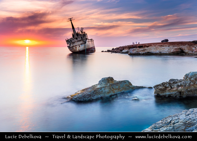 Cyprus - Paphos shipwreck - Pafos pegeia - Sierra Leone-flagged EDRO III at Sunset