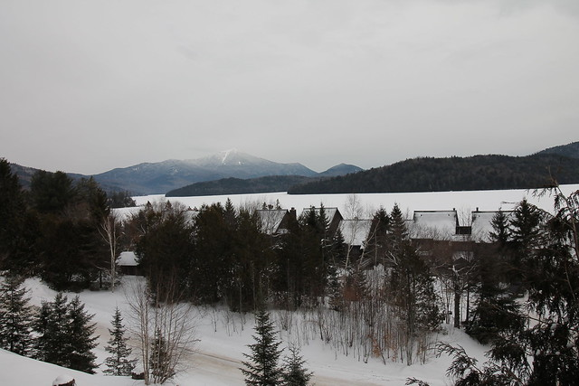 Direct view of Whiteface Mountain and Lake Placid lake;