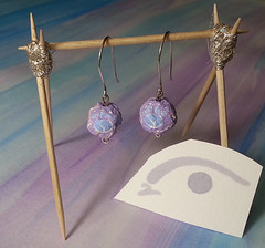 Mana Saber Inspired Hand Crafted Silver and Upcycled Hand Painted Mache Earrings - Contact me for details