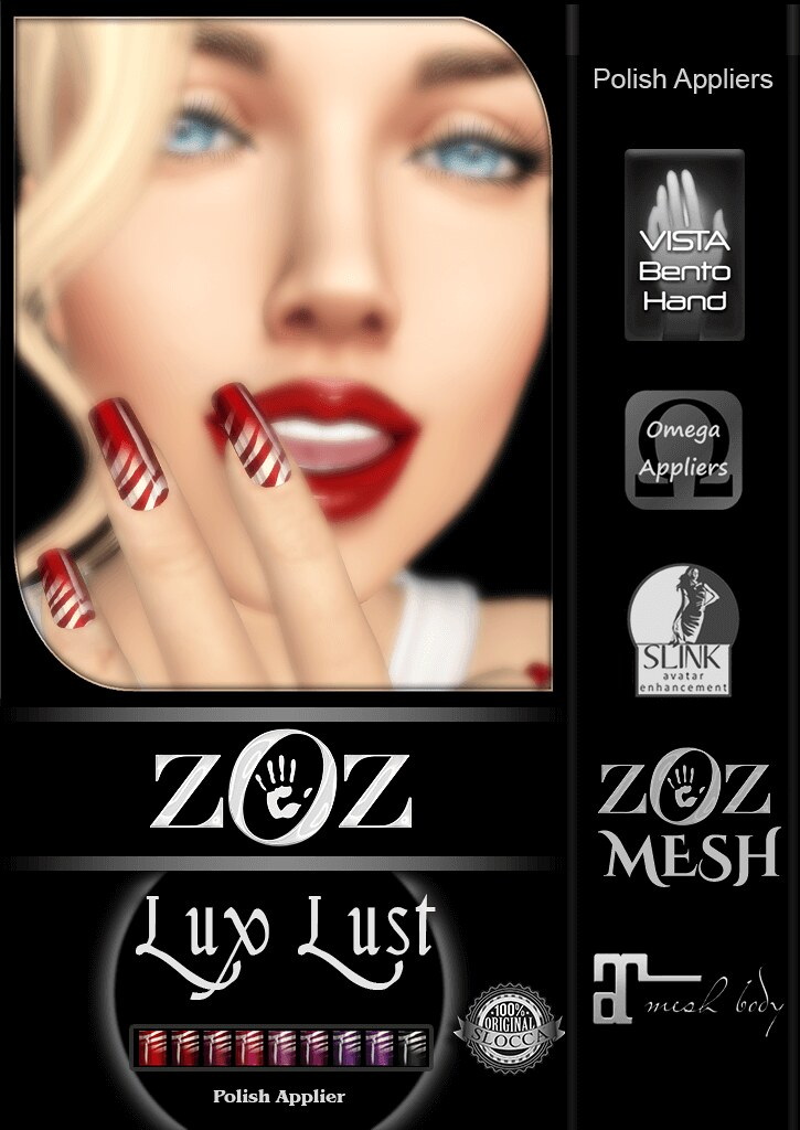 {ZOZ} Introducing Lux Manicures in Love and Lust colours for Maitreya, Vista Bento, Slink, Omega! Mesh Body Addicts Bi - Monthly! May 10 - 31st   http://maps.secondlife.com/secondlife/Down%20Under/207/66/22 (NEW LOCATION) ~ZOZ - SecondLifeHub.com