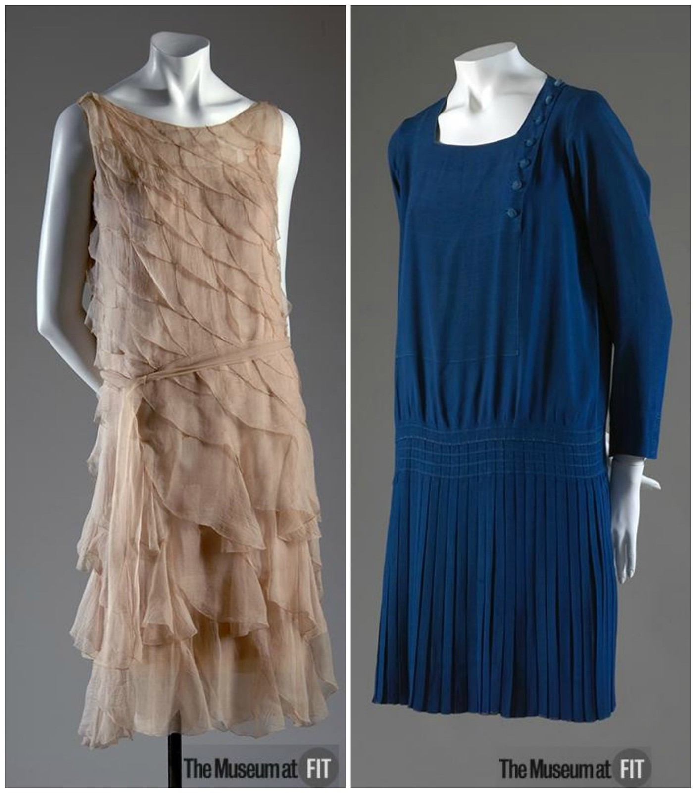1920s Chanel dresses. Left Pink crepe chiffon (1925). Right Blue silk crepe (1926). Credit MFIT