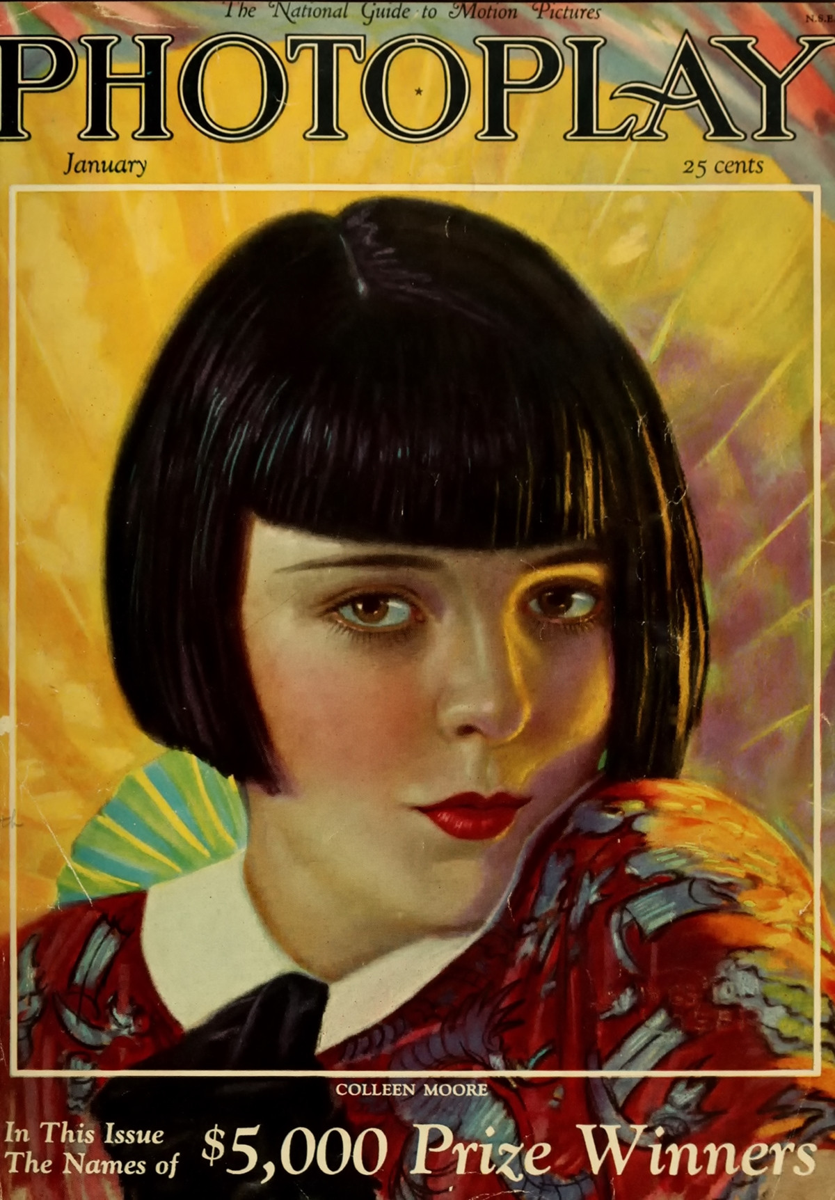 Photoplay cover for January 1926 featuring Colleen Moore, based on a painting by Livingston Geer