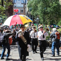 The Superior brass band arrives at the Actor's Church, Covent Garden, to celebrate at the May Fayre. #London #puppetshow