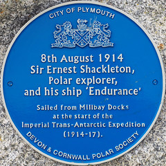 Photo of Ernest Shackleton and Endurance blue plaque
