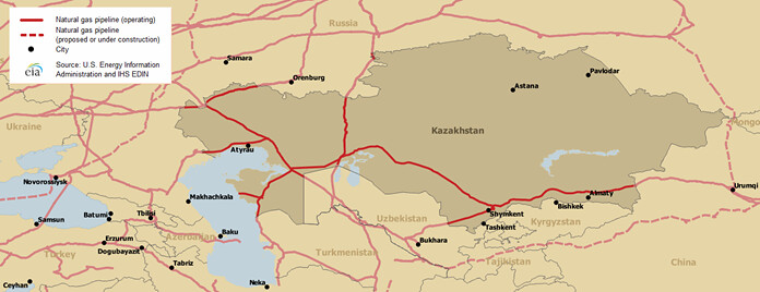 Kazakhstan Russia Map.Kazakhstan Map Of Major Natural Gas Pipelines Map Of Major Flickr