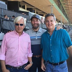 At Santa Anita racetrack today with legendary horse trainer Bob Baffert who trained Triple Crown winner American Pharoah and the world's current number 1 horse Arrogate. He's win 4 Kentucky Derby's, the Preakness 6 times and the Belmont Stakes twice, incr