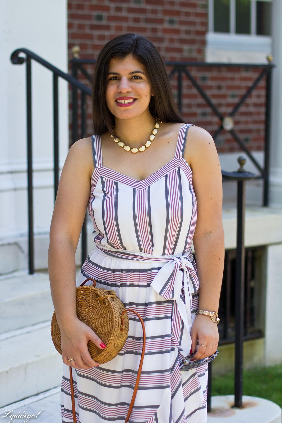 striped ruffle dress, round straw bag, white mules-5.jpg