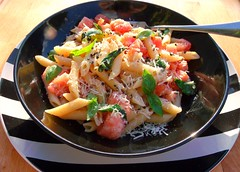 SUNSHINE ON A PLATE – PENNE WITH RAW TOMATO AND BASIL SAUCE