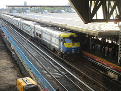 Long Island Railroad, 05/11/17: a double deck train bound for Oyster Bay pulls into Jamaica Station (IMG_3726)