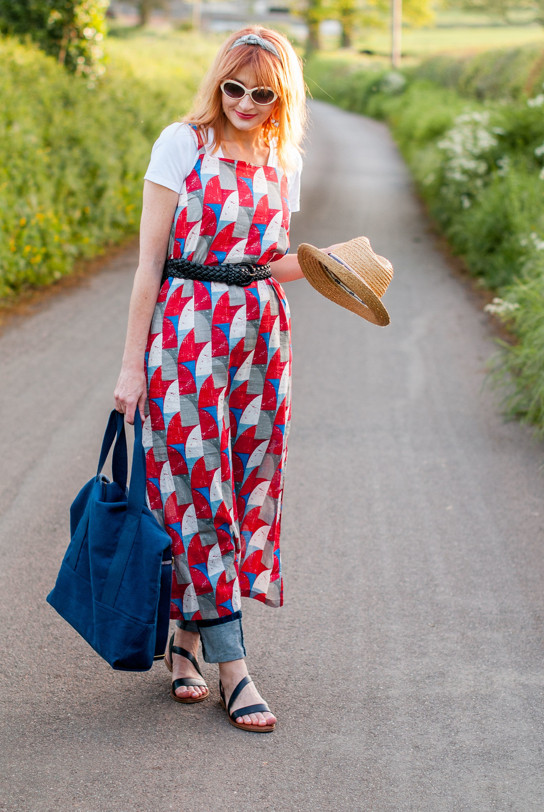 Summer dressing: Strappy printed maxi dress over jeans and white t-shirt \ retro styling \ preppy style | Not Dressed As Lamb, over 40 blog