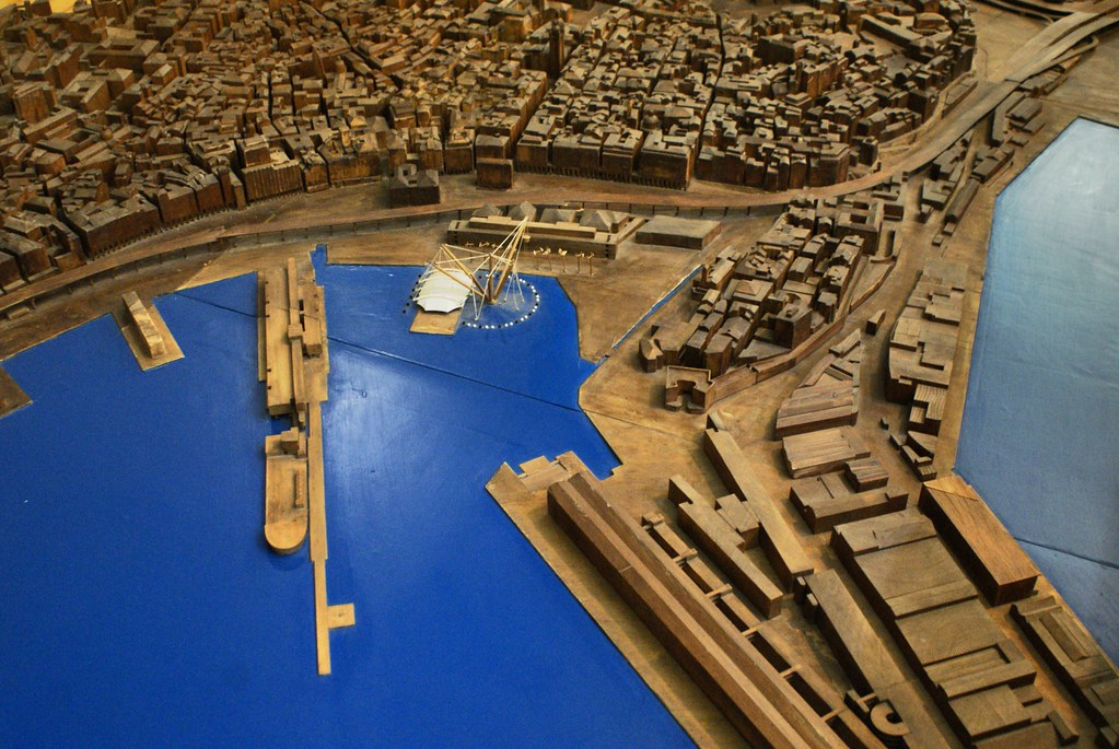 Maquette en bois du port de Gênes après rénovation de Renzo Piano.