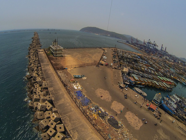 Kite Over Vizag India Fishing Port