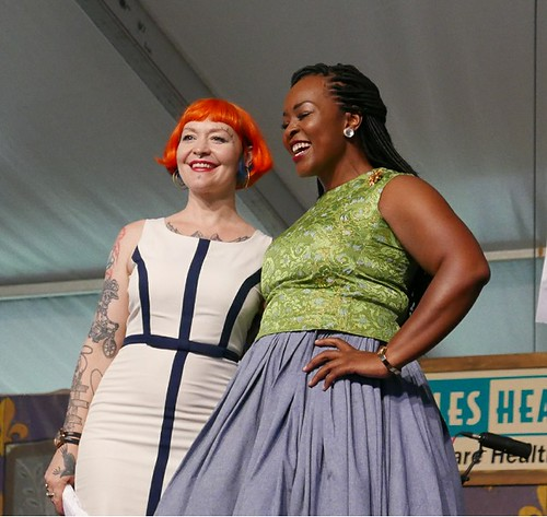 Meschiya Lake and Quiana Lynell in the Economy Hall Tent for Blu Lu Barker Remembered - April 28 2017, Jazz Fest Day 1. Photo by Black Mold.
