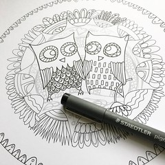 Starting to ink in a new colouring age ... the quirky owls are from an older illustration and were hooting for attention - any ideas what I should call this page? @doodlers  #owlscoloringpage #owlsillustration #coloringpageinprogress #blackandwhiteillustr