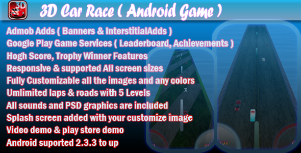 3D Car Race v1.1 + Leaderboard + Achievement + Admob