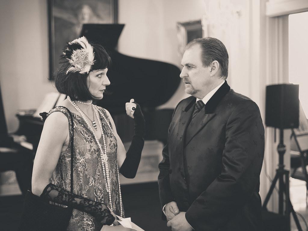 <p>Pola NEgri (Karin Rosnizeck) talks to Prince Kazimierz Lubomirski (Darren Marquardt)<br /> Photos by D. Mikołajczyk/MSZ</p>