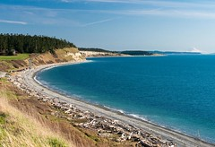 the bluff trail at Ebey's Landing, Mt. Rainier in the distance