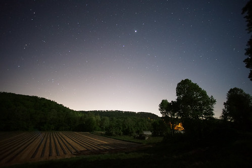 night nocturnal stars farm landscape rural southern springtime trees hills southcarolina