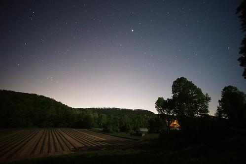 night nocturnal stars farm landscape rural southern springtime trees hills southcarolina