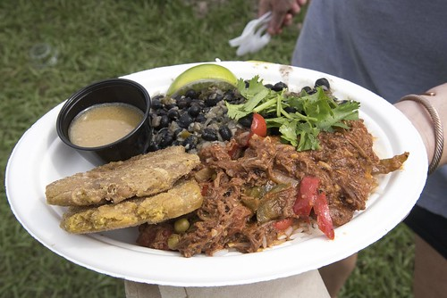 A plate of Ropa Vieja at the Cuban Cultural Exchange Pavilion. Photo by Marc PoKempner.