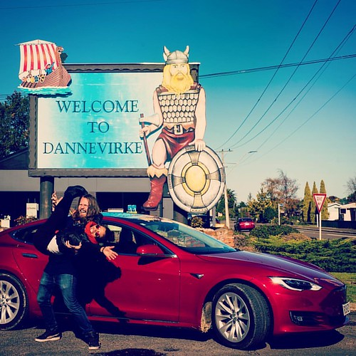 Looks like I am returning to my origins far across the seas with my mermaid over my sholder in the little town of Dannevirke, North Island New Zealand #leadingthecharge in a bright red Tesla. The town was founded on October 1872 by Danish, Norwegian and S
