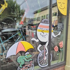 Springtime window paintings at North Portland Bikeworks. @nopobikeworks