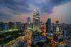 KUALA LUMPUR, MALAYSIA - FEBRUARY 22,2016 : Beautiful dramatic sunset over Kuala Lumpur city skyline, the capital city of Malaysia.
