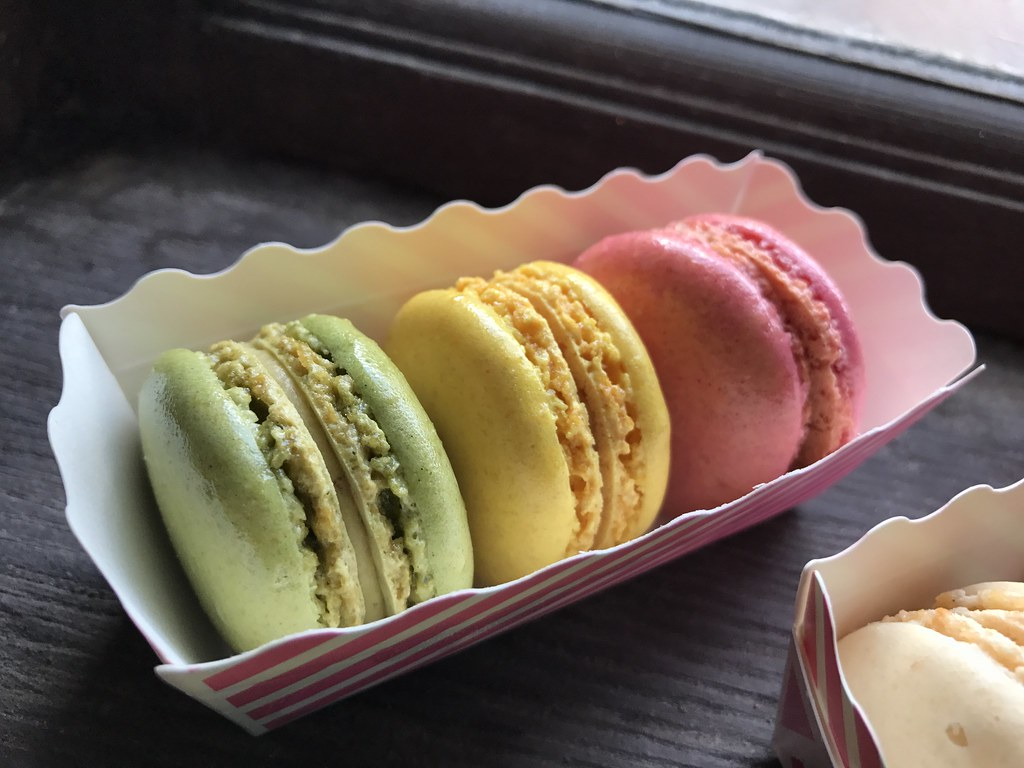 Pistachio, Raspberry, and Lemon Macaron Trio ($5.99)