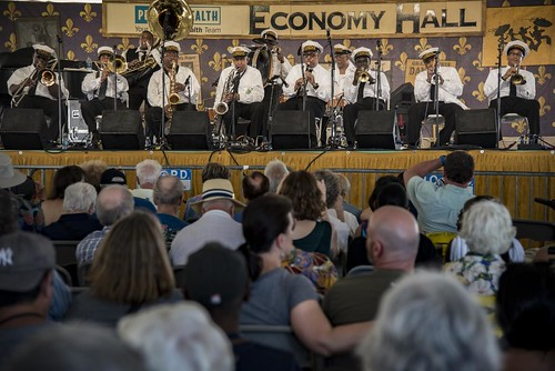 Gregg Stafford and his Young Tuxedo Brass Band at Jazz Fest Day 7.  Photo by Marc PoKempner