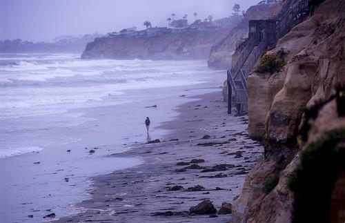 shore silhouette walk sand landscape cliffs california solana canon april 2017 far surface reflect morning light