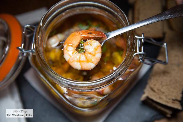 Shrimp in olive oil