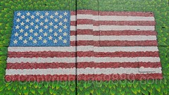 American Flag Mural (2016) by Mona Oman, Gerardi's Farmers Market, Staten Island, New York City