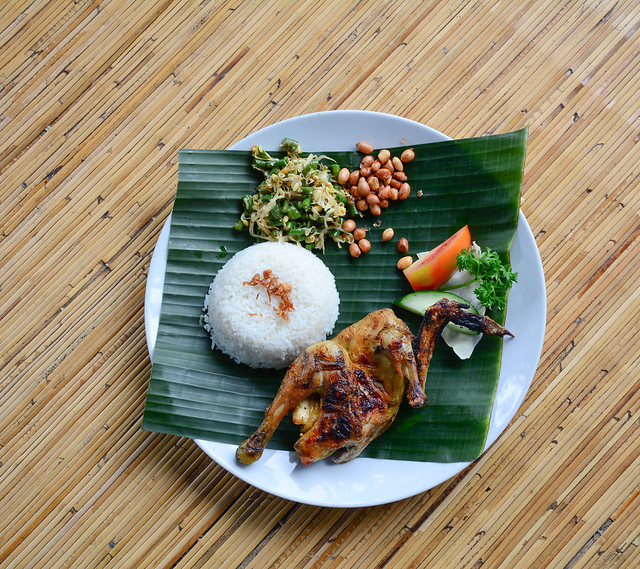 Balinese chicken rice on wooden floor