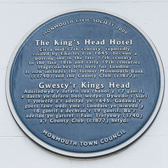 Photo of King's Head Hotel, Monmouth, Charles I, Monmouth Bank, and County Club, Monmouth blue plaque