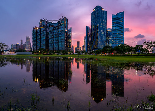 singapore reflection cityscape sunset singaporefinancialdistrict marinabay
