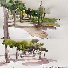 Those two sketches were done yesterday during my workshop in #neuilly. The goal was to try to show the path in perspective, the light and shadow zones and not showing too much greenery... two different styles, one only watercolor the other quick line and