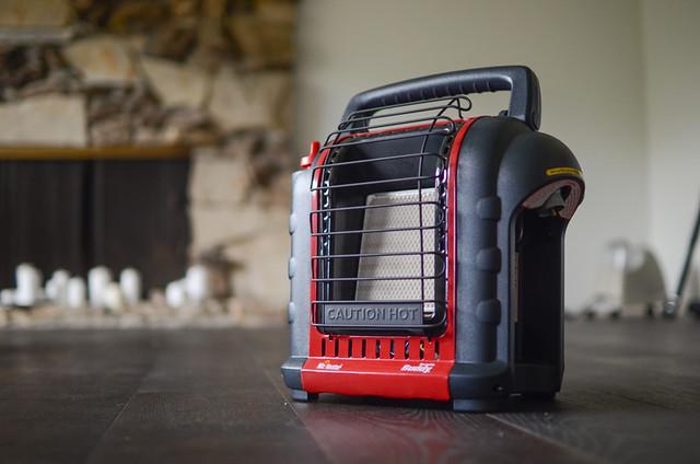 propane, portable heater on floor