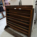 Large dark wood stained wall shelf unit E165