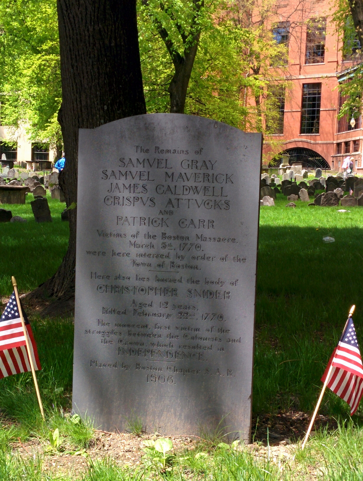 Boston Massacre Victims at Granary Burying Ground