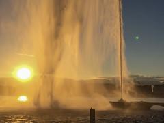 Jet d'eau de Genève sur le lac Léman