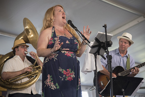 Debbie Davis & the Mesmerizers close out Economy Hall Tent on Day 6 of Jazz Fest - May 6, 2017. Photo by Marc PoKempner.