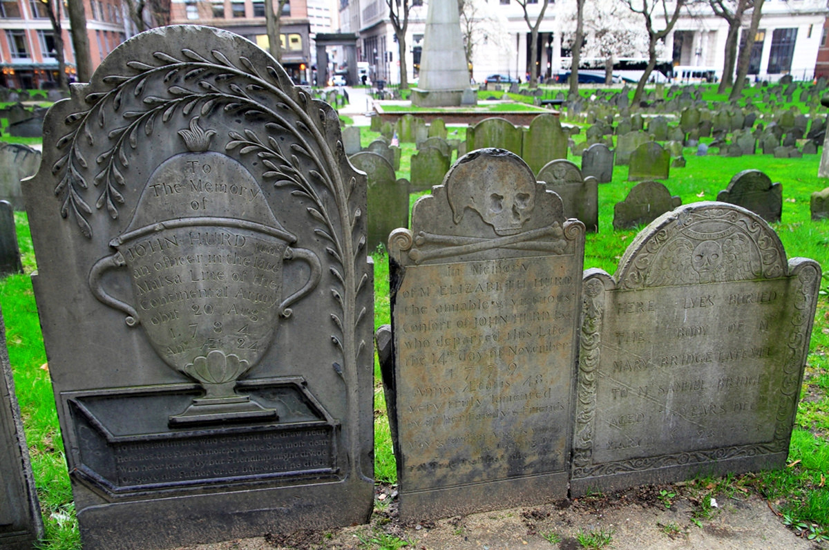 Three headstone carving designs placed side by side. Credit Ingfbruno