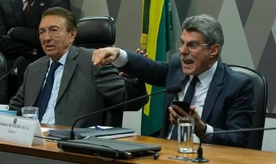 Edison Lobão (esq.), presidente da CJJ, e o relator na comissão, Romero Jucá (dir.), ambos do PMDB e com papel decisivo na aprovação - Créditos: Lula Marques