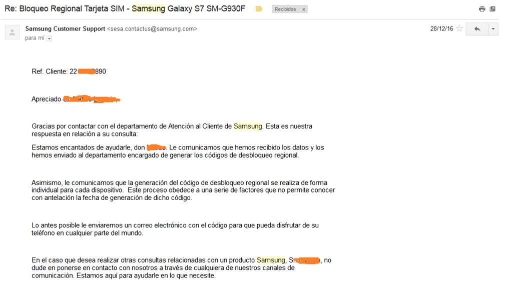mail de samsung bloqueo sim
