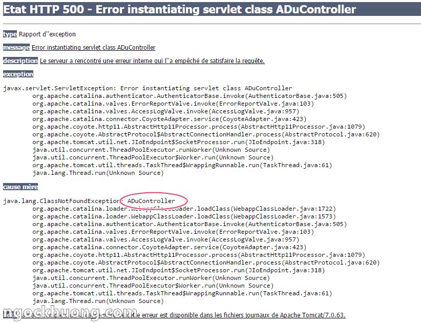 Lỗi Etat HTTP 500 - Error instantiating servlet class - Lỗi khởi tạo class servlet